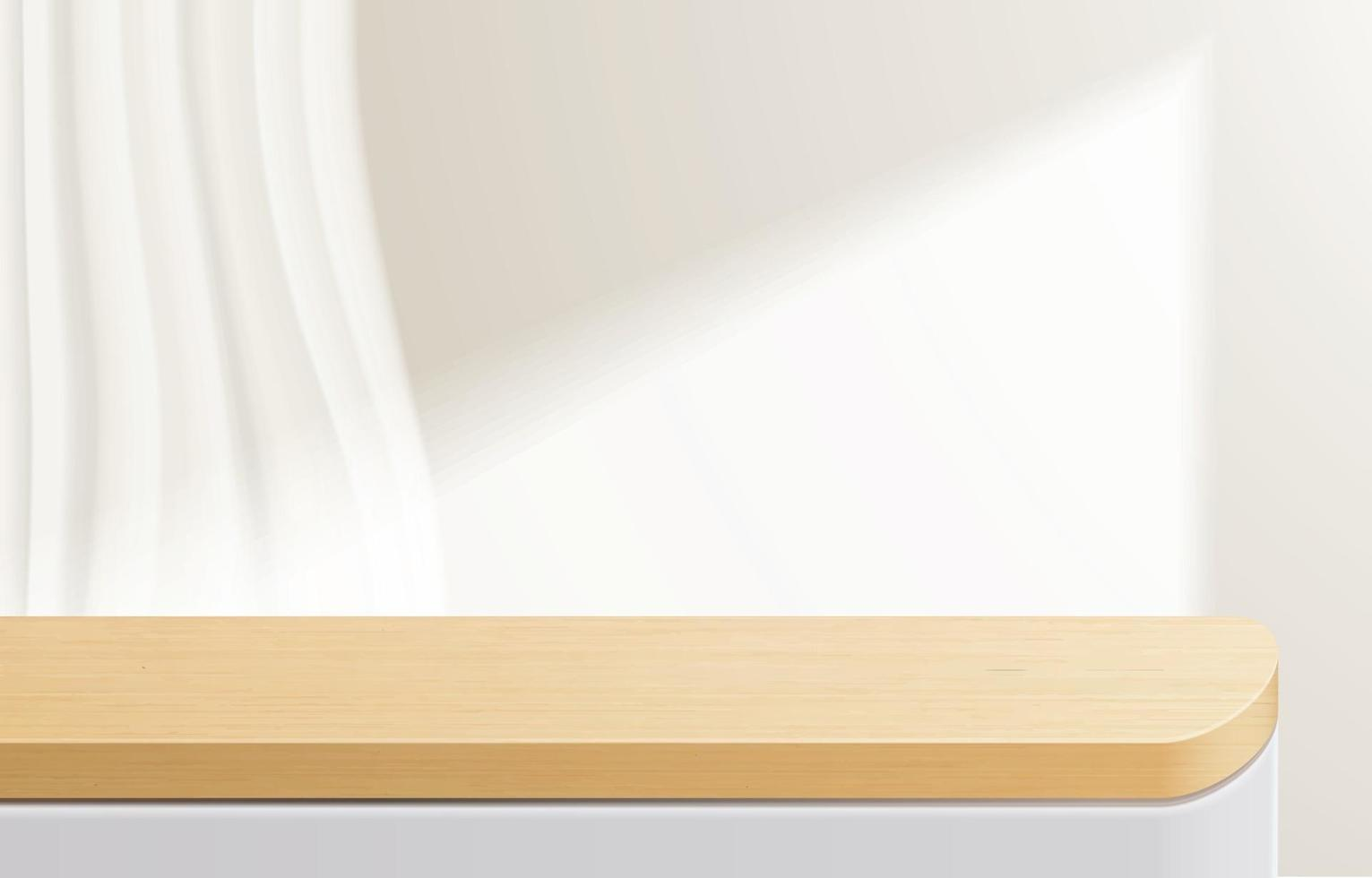 Empty minimal wooden top table, wood podium in white background. for product presentation, mock up, show cosmetic product display, Podium, stage pedestal or platform. 3d vector