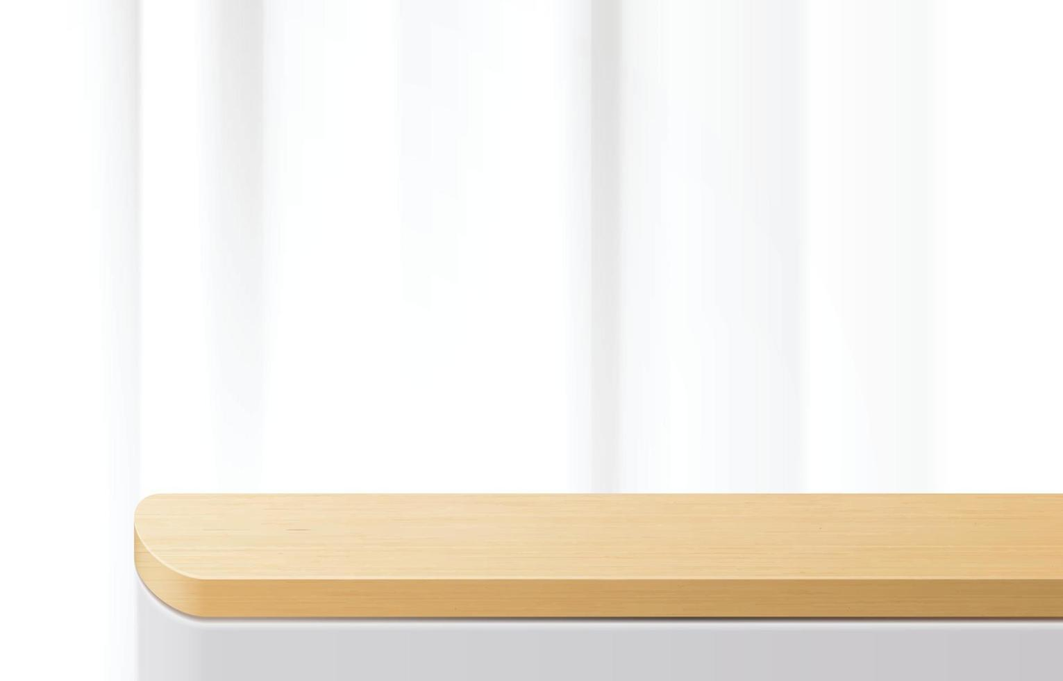 Empty minimal wooden top table, wood podium in white background. foe product presentation, mock up, show cosmetic product display, Podium, stage pedestal or platform. 3d vector