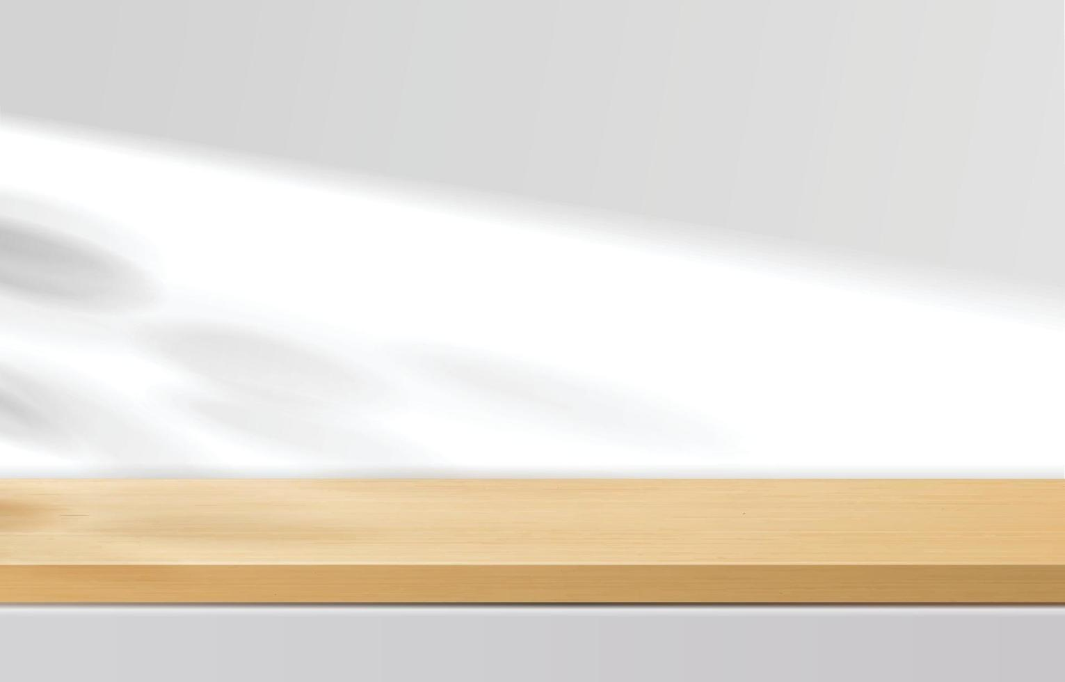 Empty minimal wooden top table, wood podium in white background with shadow leaves. for product presentation, mock up, show cosmetic product display, Podium, stage pedestal or platform. 3d vector
