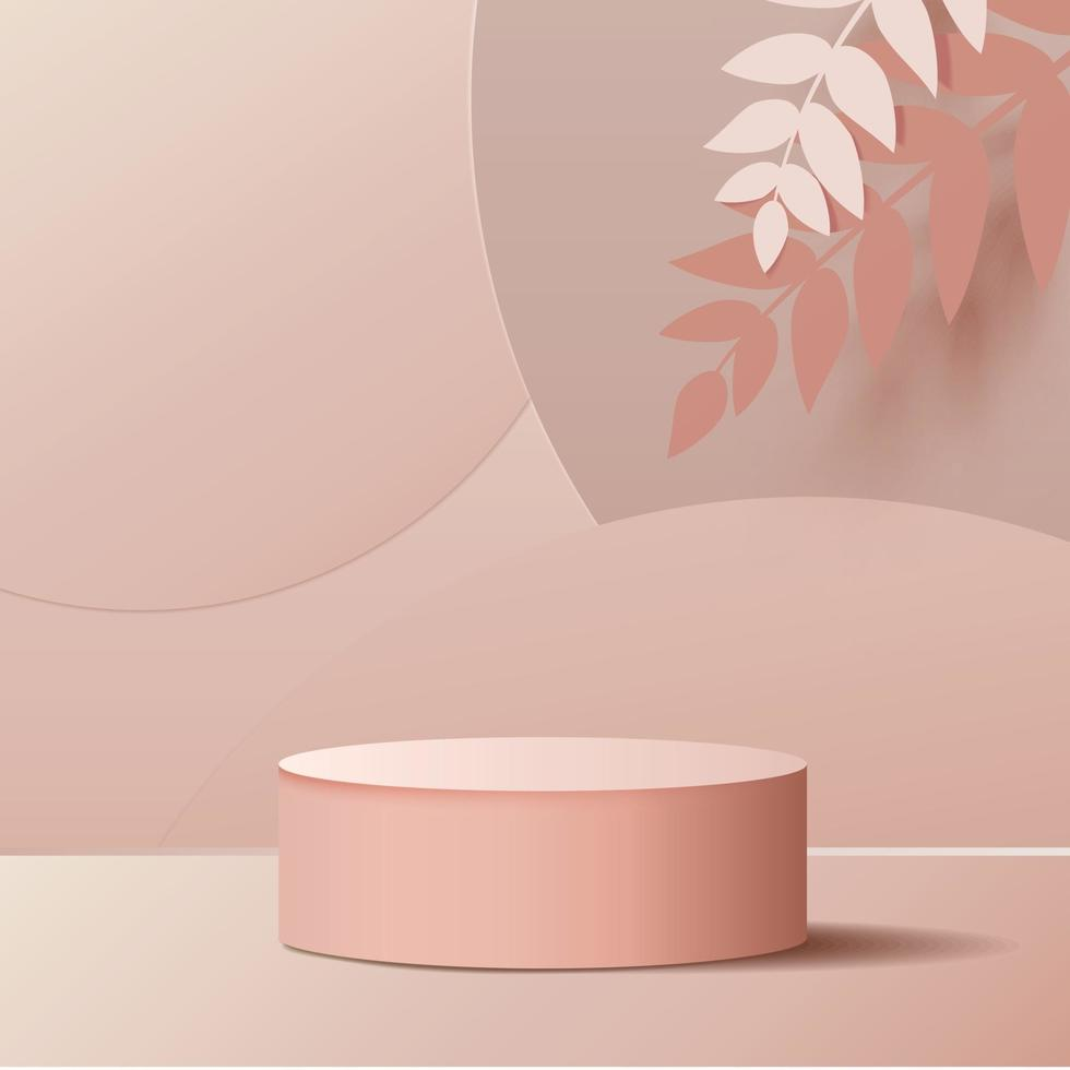 minimal scene with geometrical forms. Cylinder podium in pink background. Scene to show cosmetic product, Showcase, shopfront, display case. 3d vector illustration.
