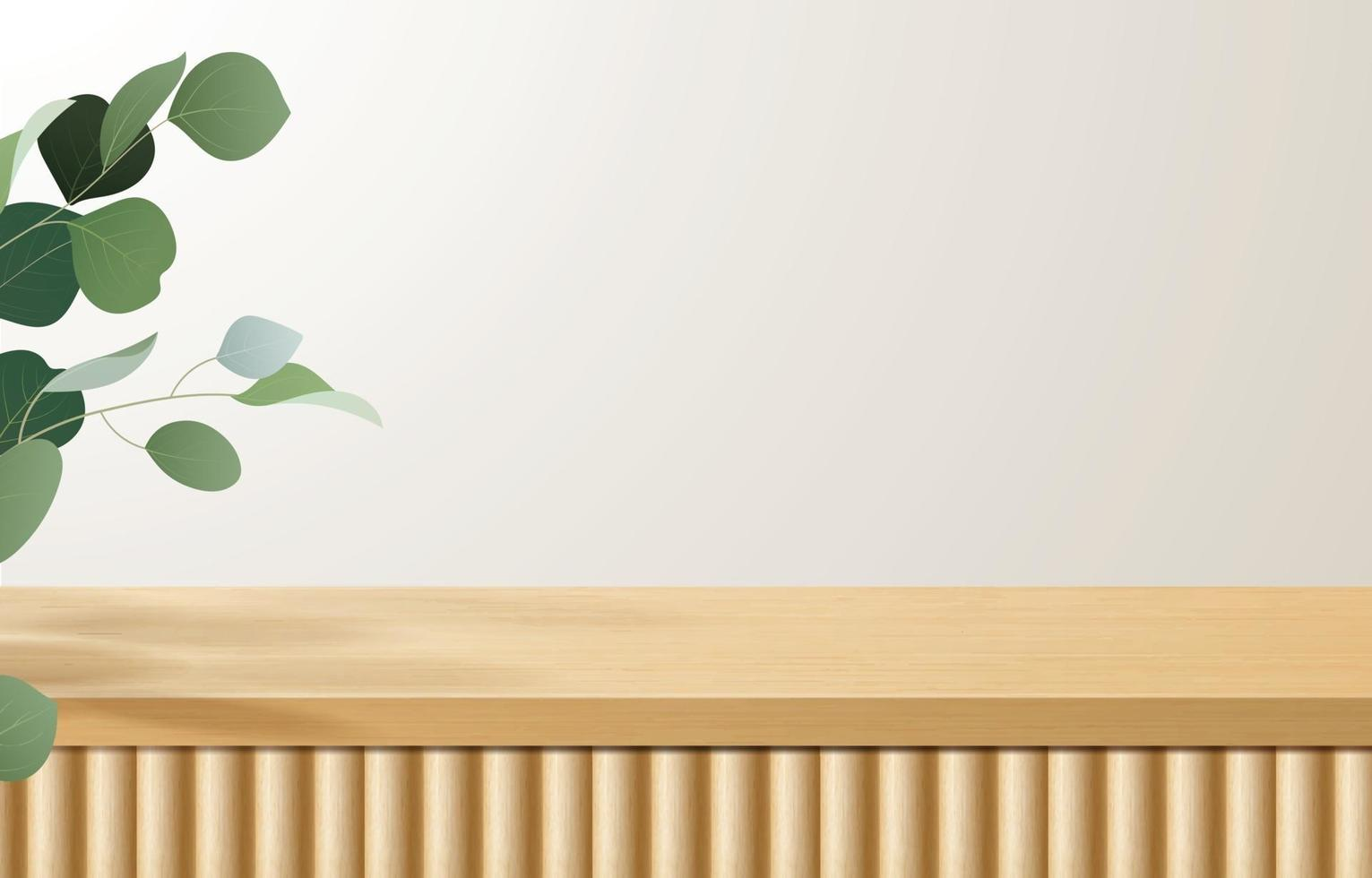 Empty minimal wooden top table, wood podium in white background with green leaves. for product presentation, mock up, show cosmetic product display, Podium, stage pedestal or platform. 3d vector