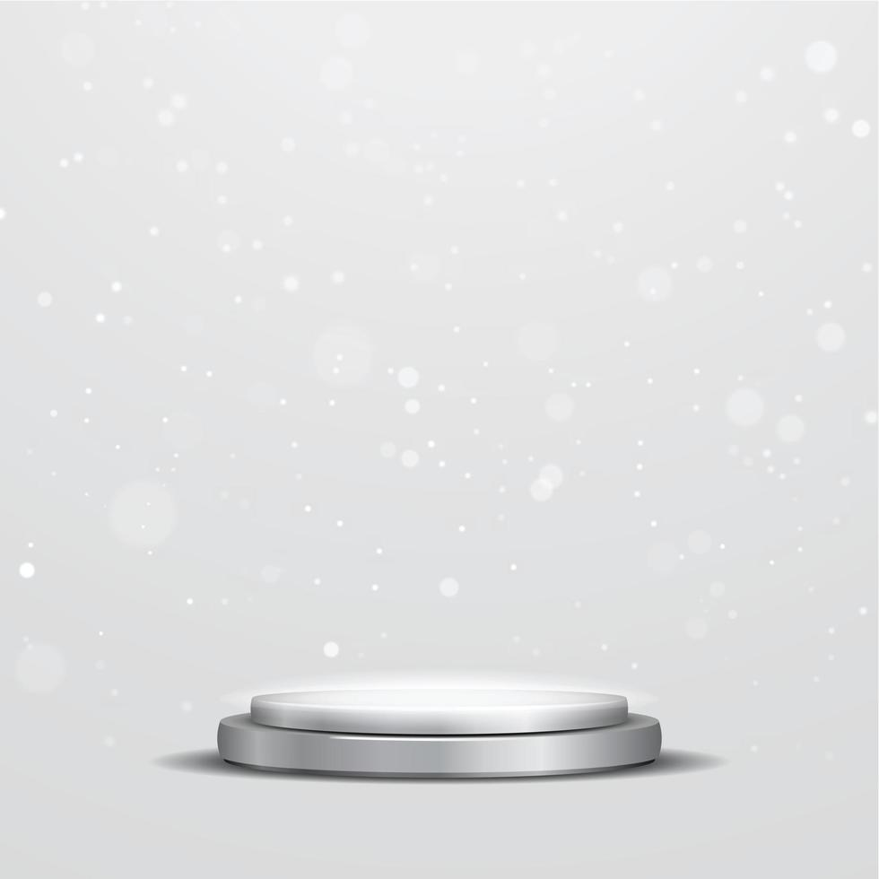 Round metallic gray podium with a spotlight and bokeh on a white background, the first place, fame and popularity. Vector illustration. - Vector