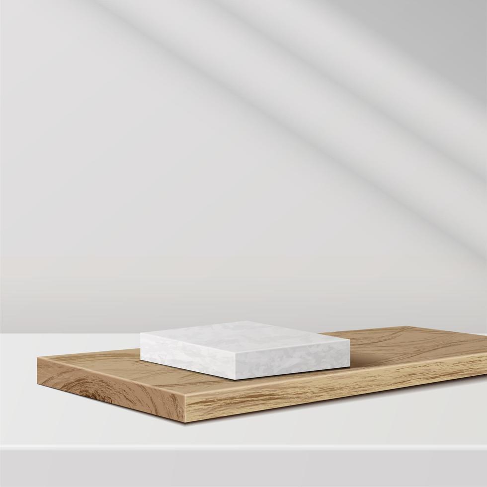 minimal scene with geometric forms. marble podium on wood podium vector