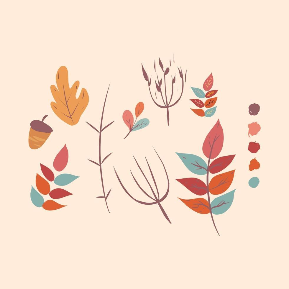 Autumn hand drawn elements vector