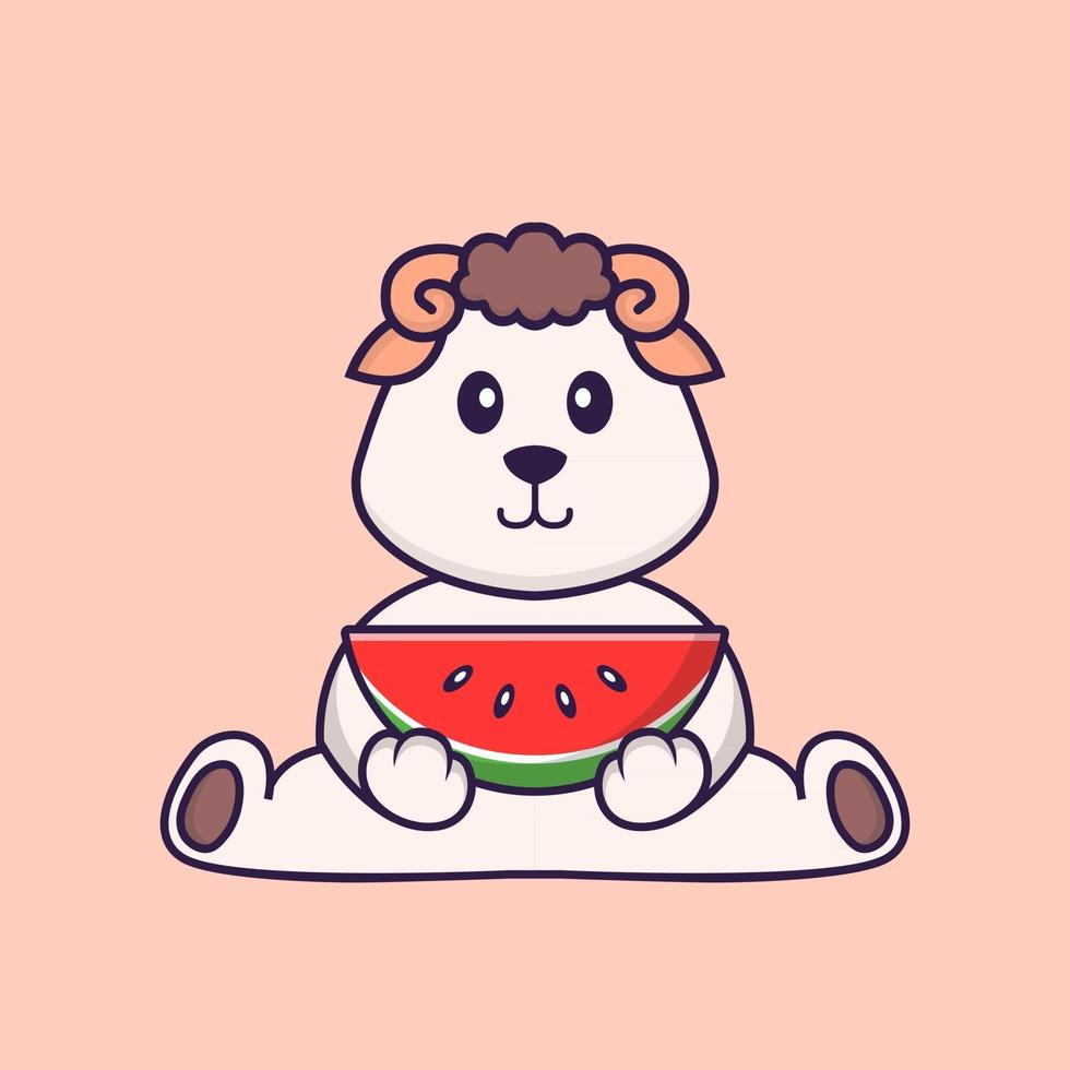 Cute sheep eating watermelon. Animal cartoon concept isolated. Can used for t-shirt, greeting card, invitation card or mascot. Flat Cartoon Style vector