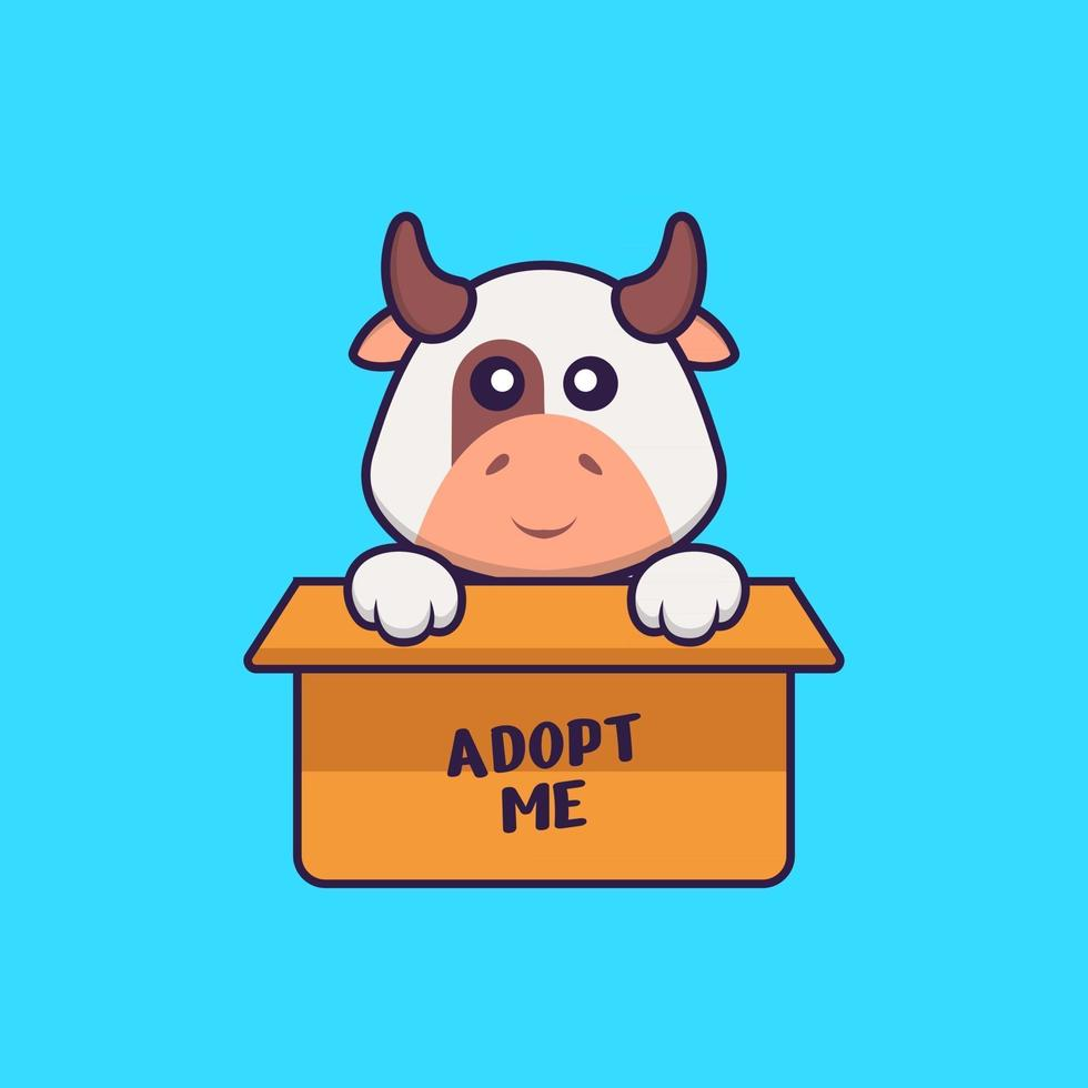 Cute cow in box with a poster Adopt me. Animal cartoon concept isolated. Can used for t-shirt, greeting card, invitation card or mascot. Flat Cartoon Style vector