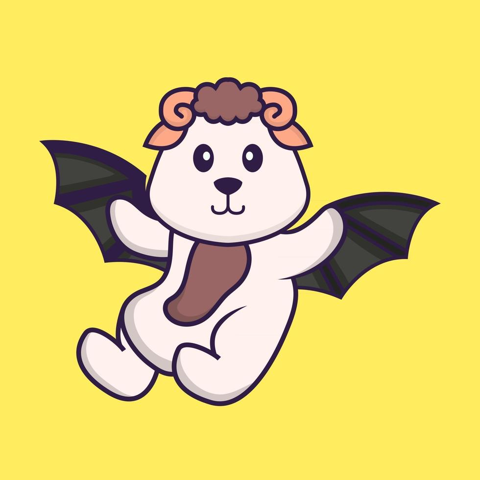 Cute sheep is flying with wings. Animal cartoon concept isolated. Can used for t-shirt, greeting card, invitation card or mascot. Flat Cartoon Style vector