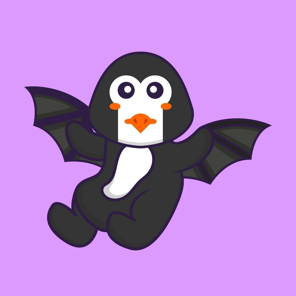 Cute penguin is flying with wings. Animal cartoon concept isolated. Can used for t-shirt, greeting card, invitation card or mascot. Flat Cartoon Style vector