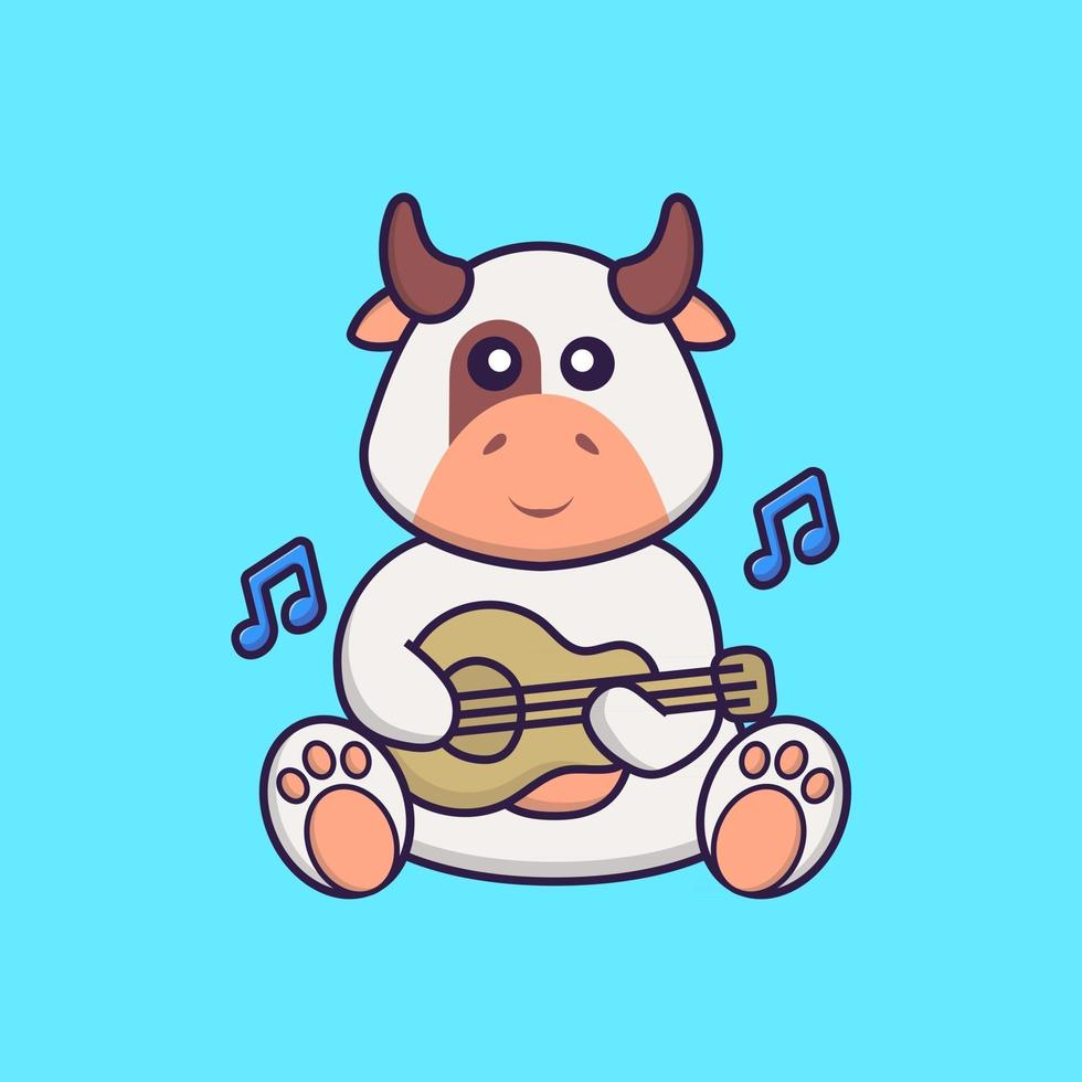 Cute cow playing guitar. Animal cartoon concept isolated. Can used for t-shirt, greeting card, invitation card or mascot. Flat Cartoon Style vector