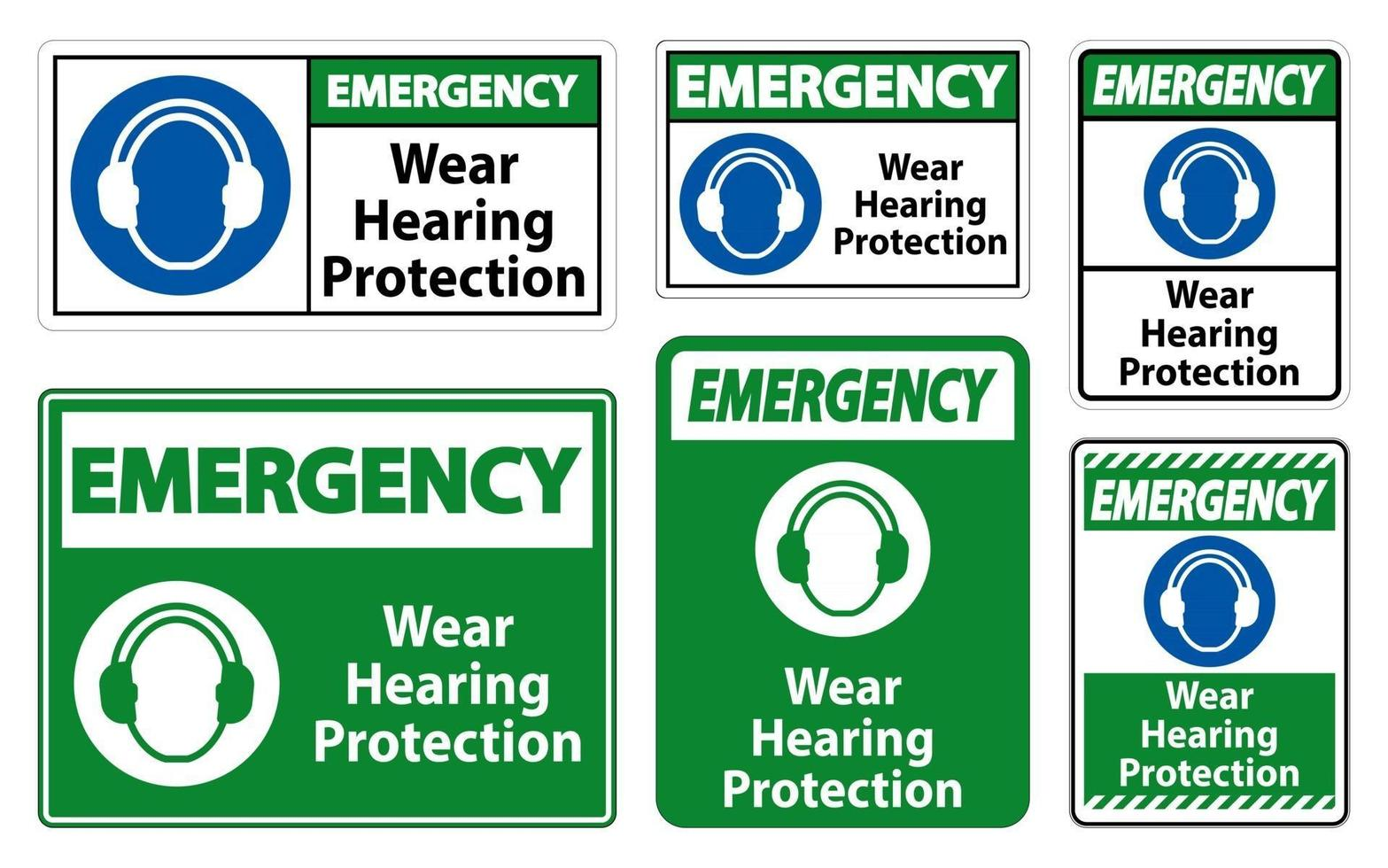 Emergency Wear hearing protection sign on white background vector
