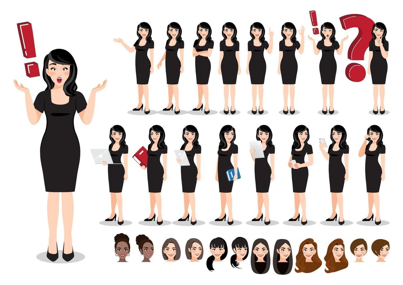 Businesswoman cartoon character set. Beautiful business woman in a black dress. Vector illustration