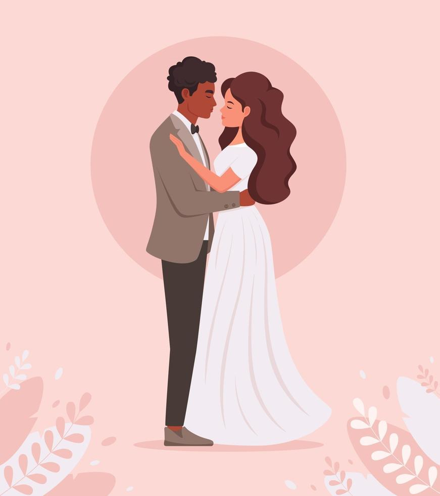 Wedding couple. Black man and woman getting married, newlyweds. Wedding portrait. Multicultural family vector