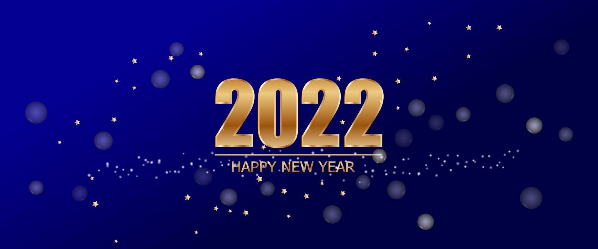 2022 New Year on Blue background with luxury gold text and star of Vector. vector