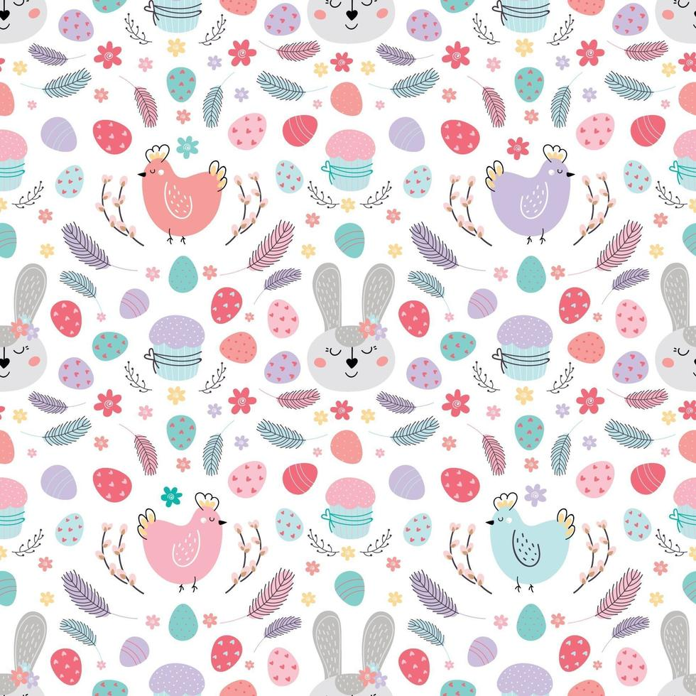seamless Easter pattern with rabbit. Pattern with Easter bunny, eggs, cake. Design for textiles, packaging, wrappers, web, printing. Vector flat illustration