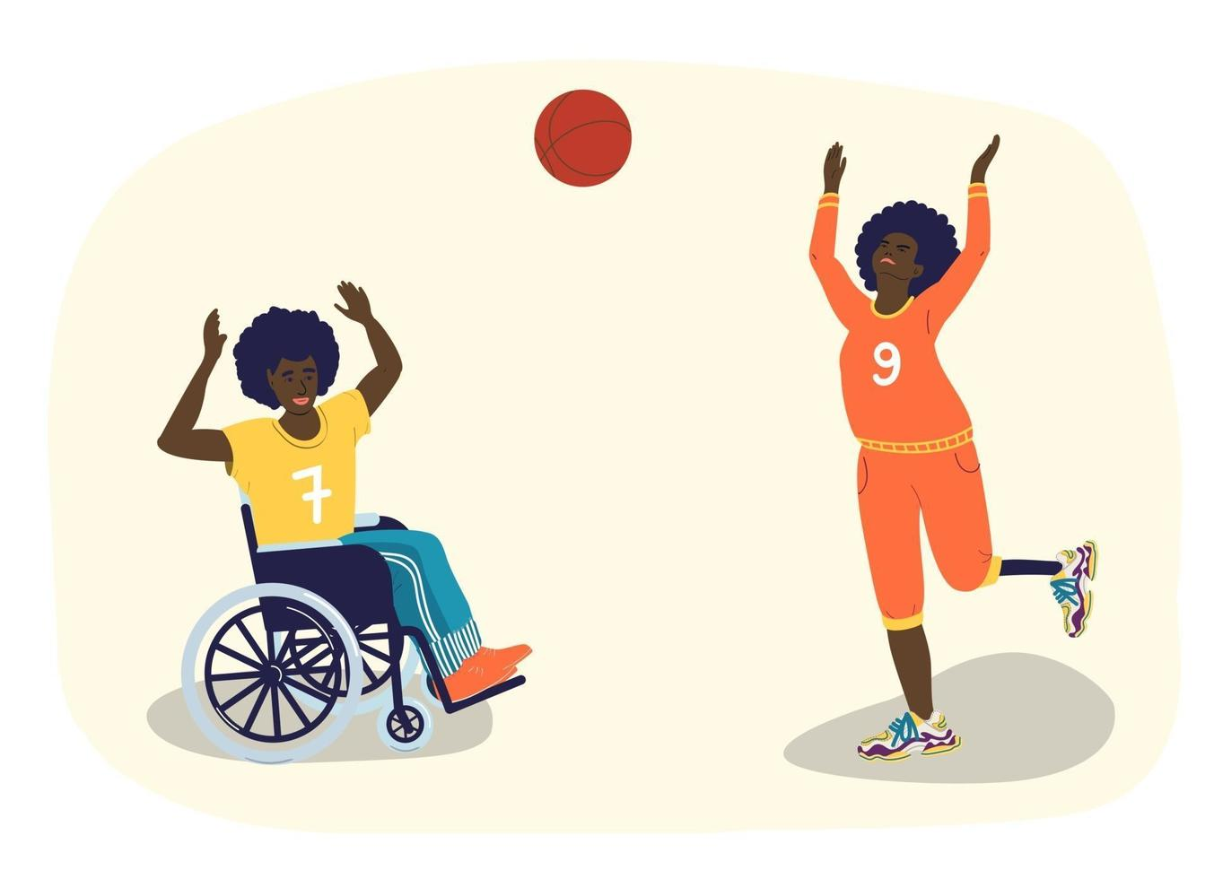 Disabled people play basketball. African-American teenagers with disabilities play basketball. A guy in a wheelchair. A girl with a prosthetic leg. Vector cartoon illustration