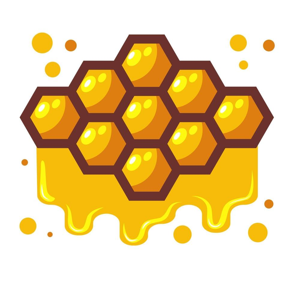 Bees honeycomb with honey dripping off it. Cartoon vector illustration