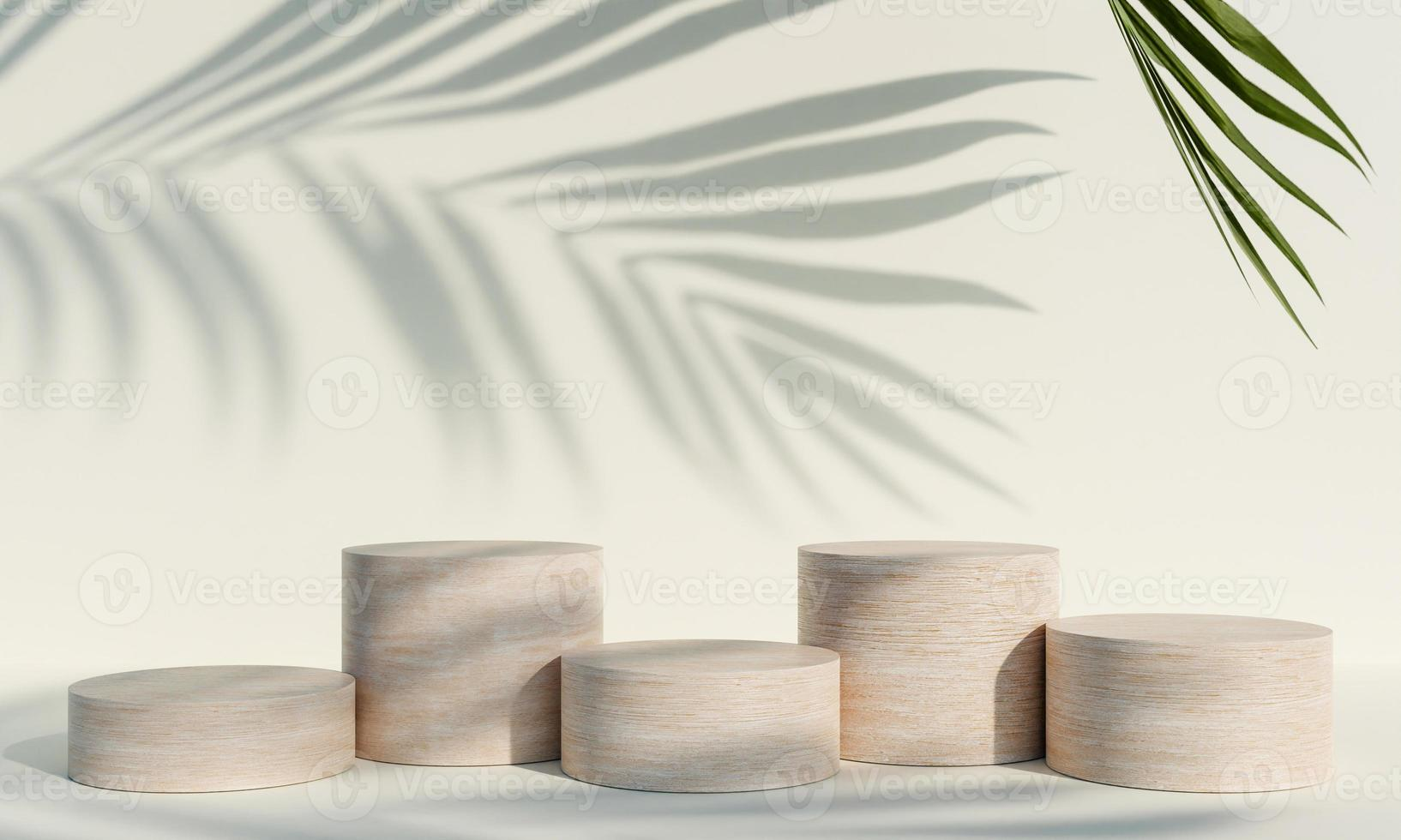 Wooden product display podium with shadow nature leaves on white background. 3D rendering photo