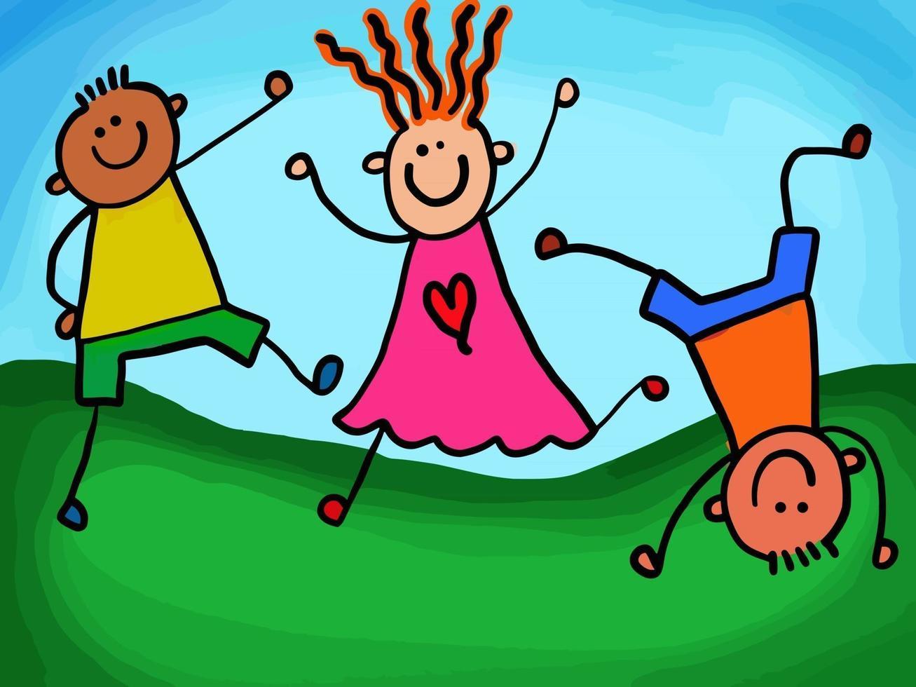 Active Happy Stick Kids vector