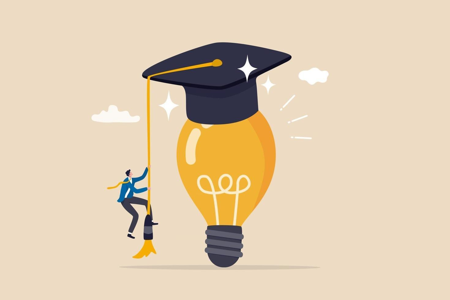 Education or academic help create business idea, skill and knowledge empower creativity concept, smart intelligence business man climb up bright light bulb idea waring mortarboard graduation cap. vector