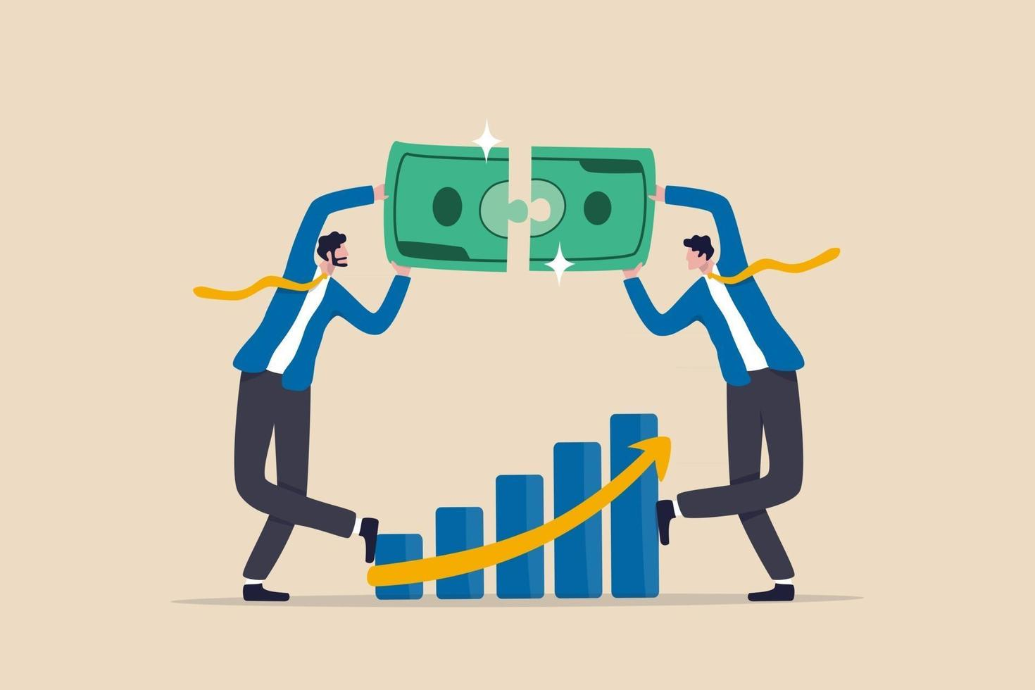 Wealth management, financial professional consultant solve money problem, planning and strategy for success investment, businessman wealth expert team solving money jigsaw with profit growth graph. vector