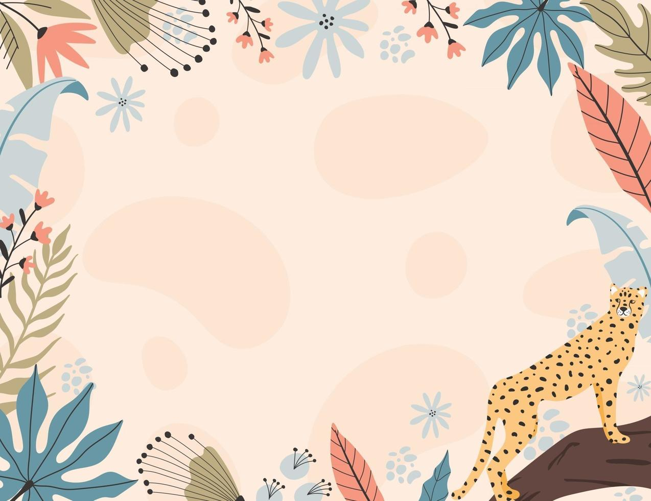 Tropical cheetah background, with hand drawn illustrations. vector