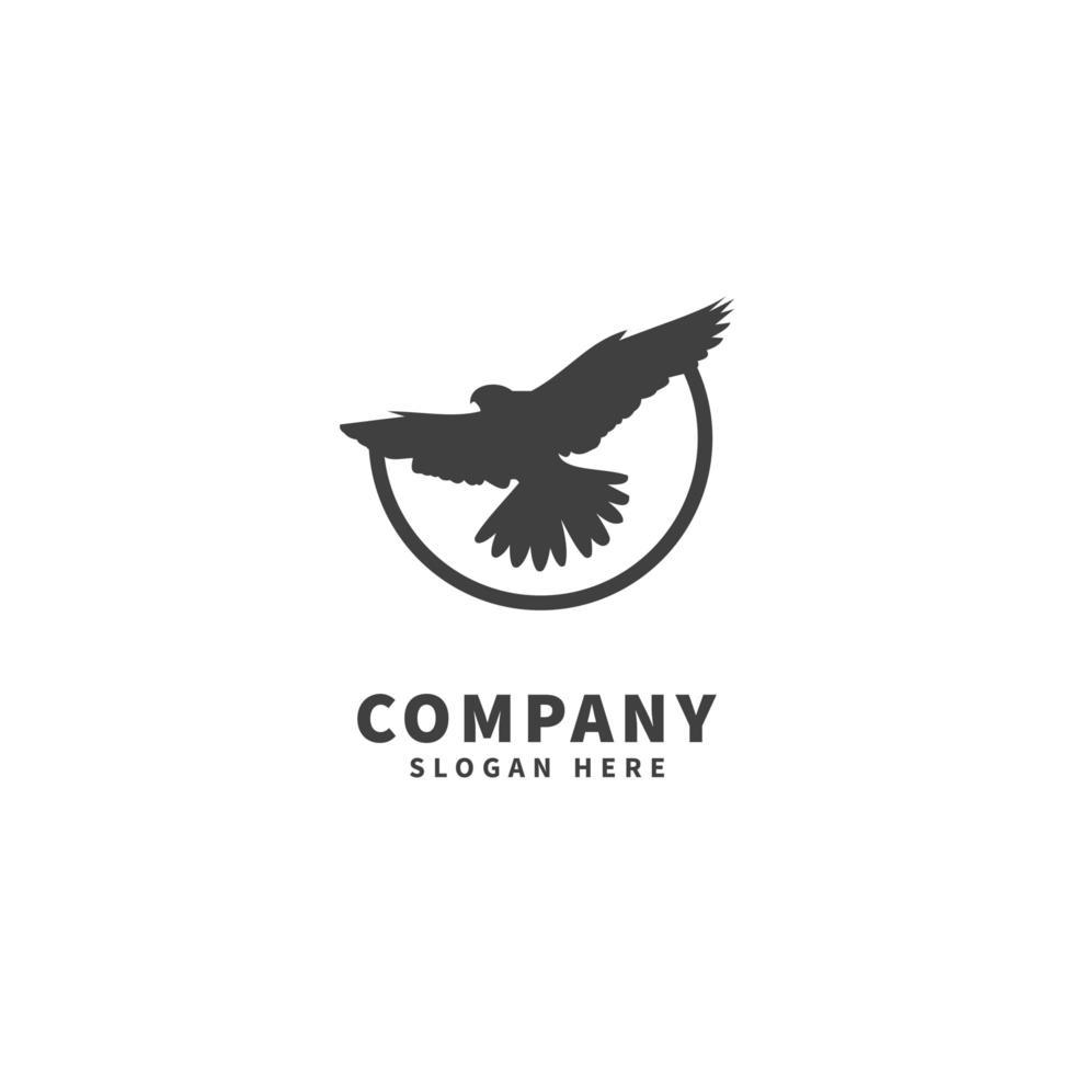 Falcon logo design template, icon illustration, flying vector