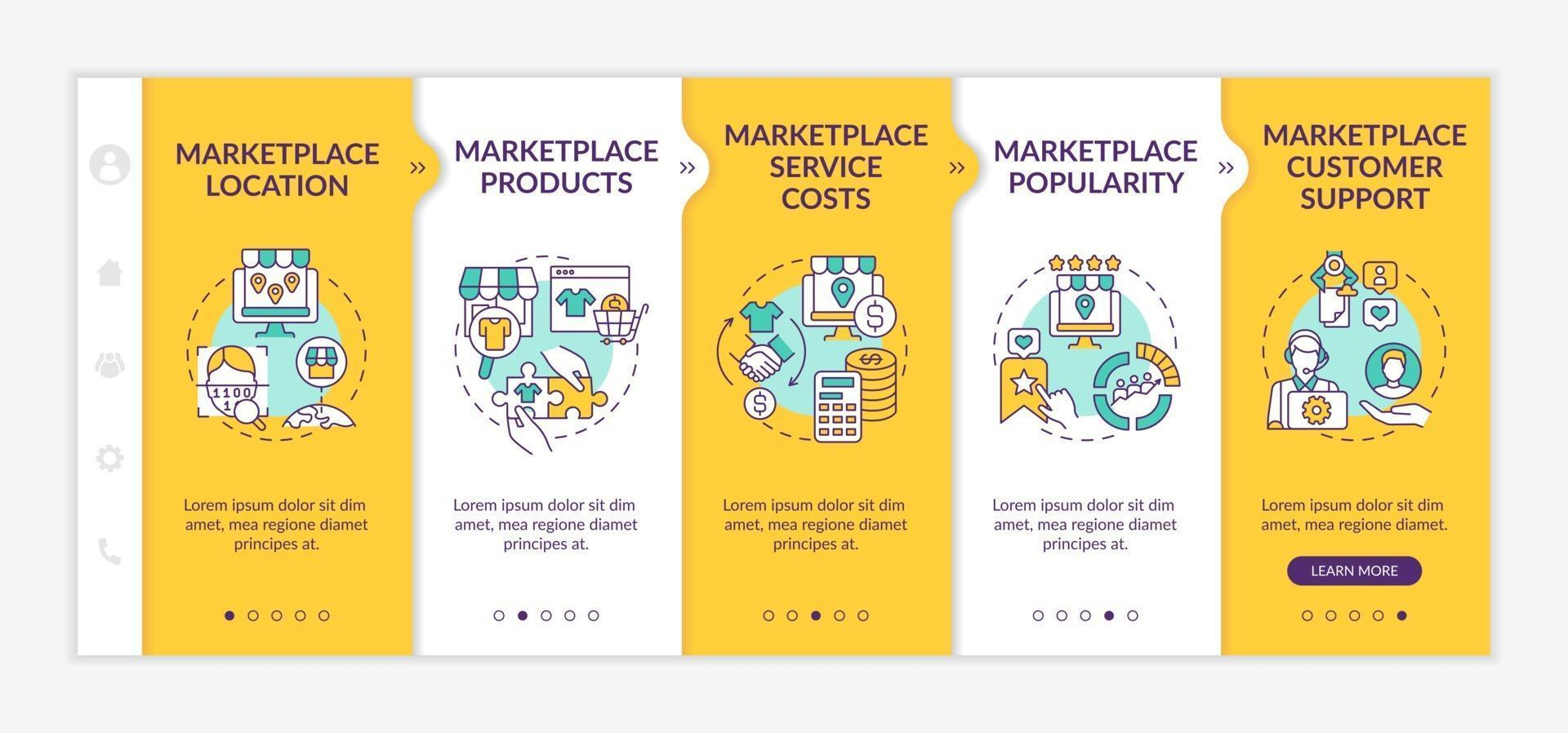 Market place choice parameters onboarding vector template. Responsive mobile website with icons. Web page walkthrough 5 step screens. Service costs, products color concept with linear illustrations