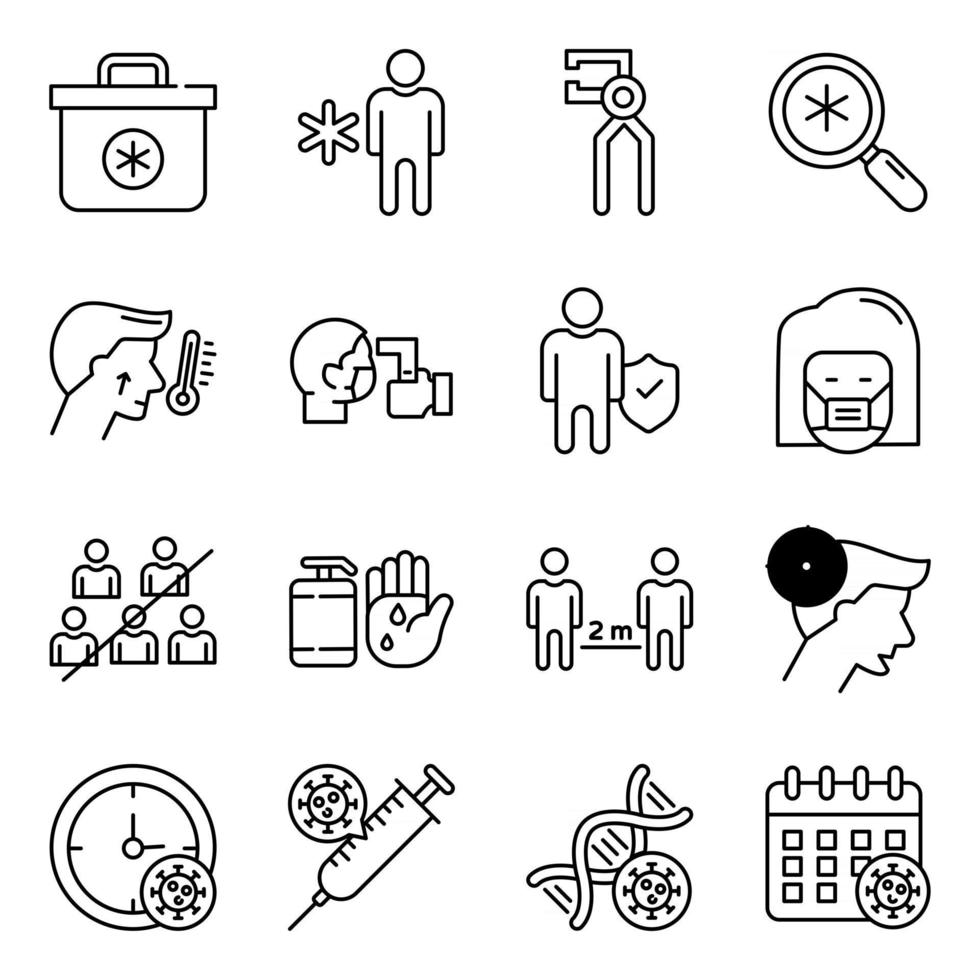 Pack of Medical Tools Linear Icons vector