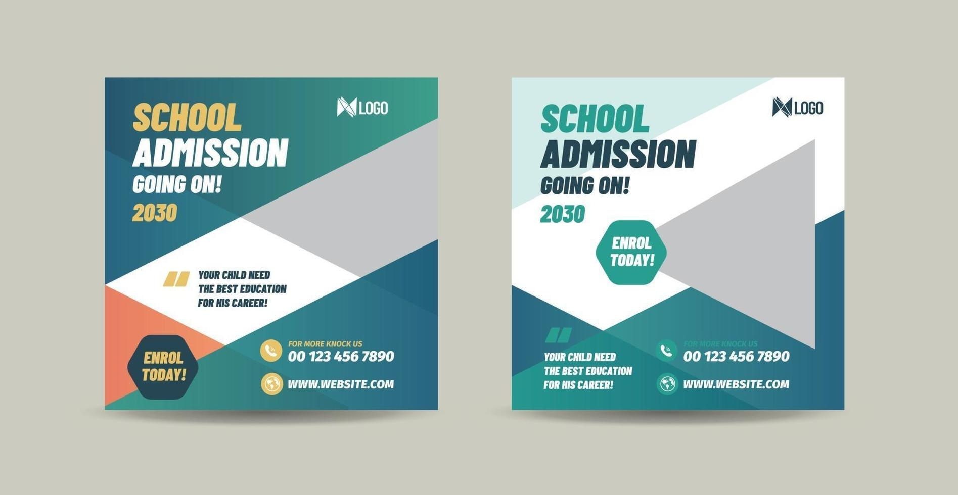 School college university  admission and back to school social media post design vector