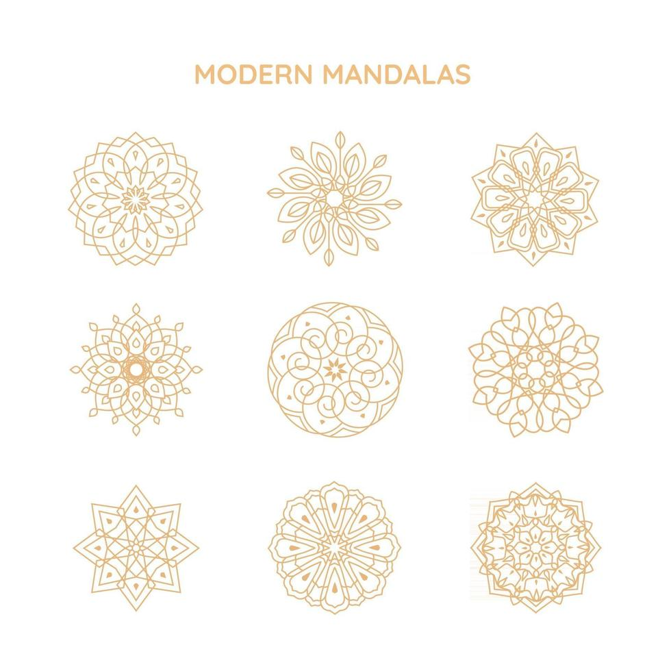 Modern mandalas logo vector templates, abstract symbols in ornamental ethnic style, emblems for luxury products, hotels, boutiques, jewelry, oriental cosmetics, spa, restaurants, shops and stores.