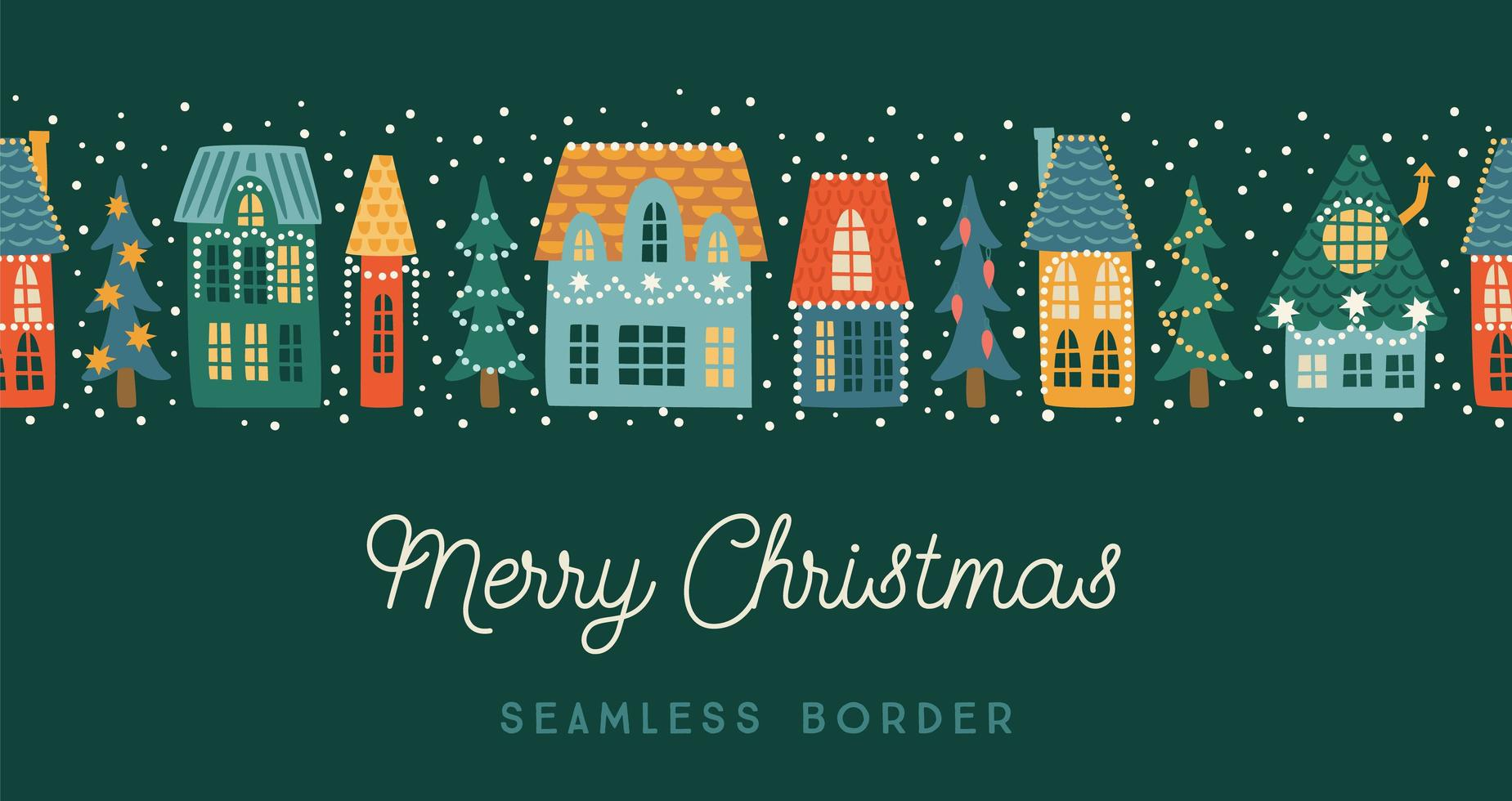 Christmas and Happy New Year seamless border. City, houses, Christmas trees, snow.. Vector design template.