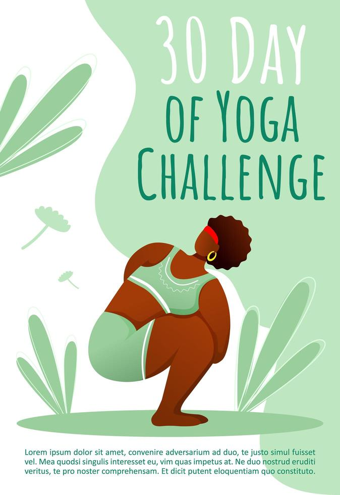 30 day of yoga challenge brochure template. Healthy lifestyle. Bodypositive yoga flyer, booklet, leaflet concept with flat illustrations. Vector page cartoon layout for magazine with text space