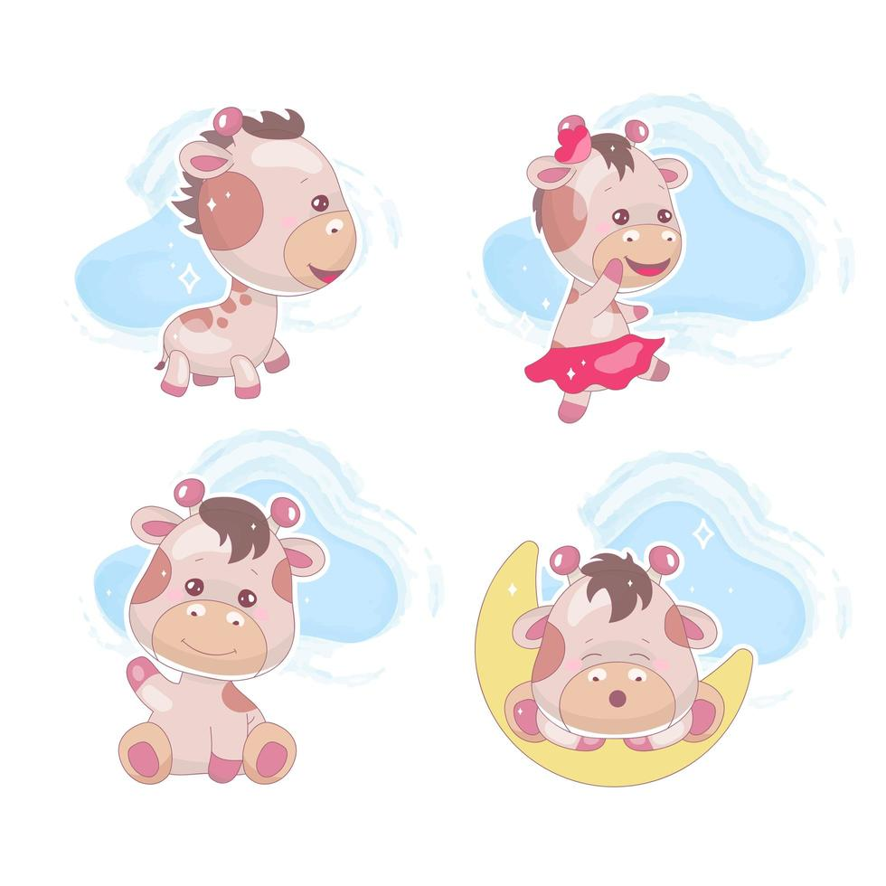 Cute giraffe kawaii cartoon vector characters set. Adorable and funny dreaming animal with clouds isolated sticker, patch, kids book illustration. Anime happy baby giraffe emoji on white background