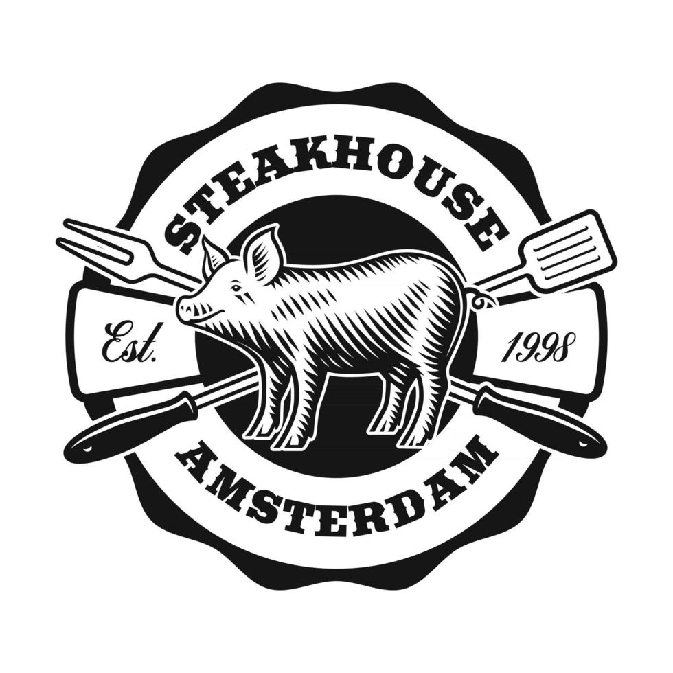 A vintage label with a piglet for a BBQ theme vector