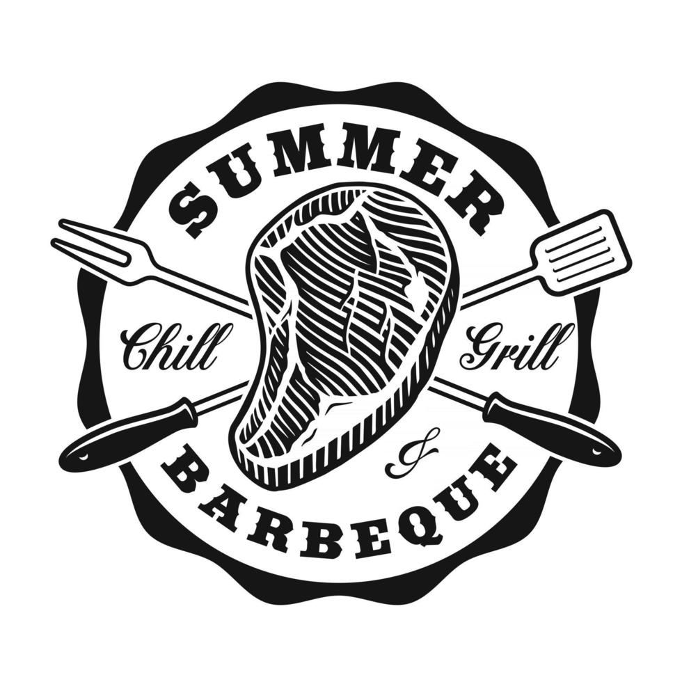 A vector BBQ badge in vintage style