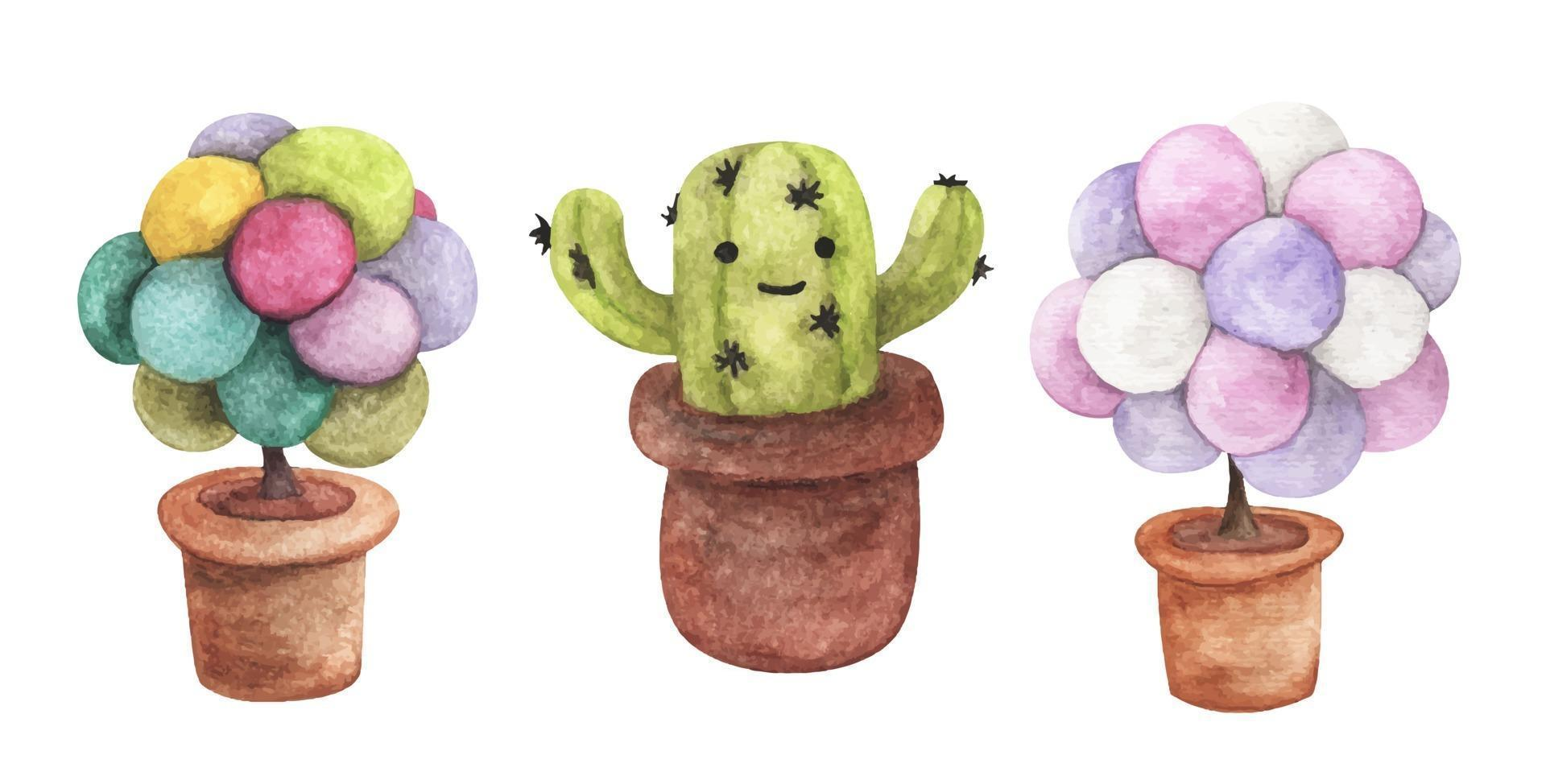 Set of Tree in pot. Watercolor illustrations. vector