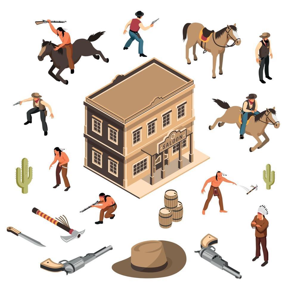 Wild West Cowboys Isometric Set Vector Illustration