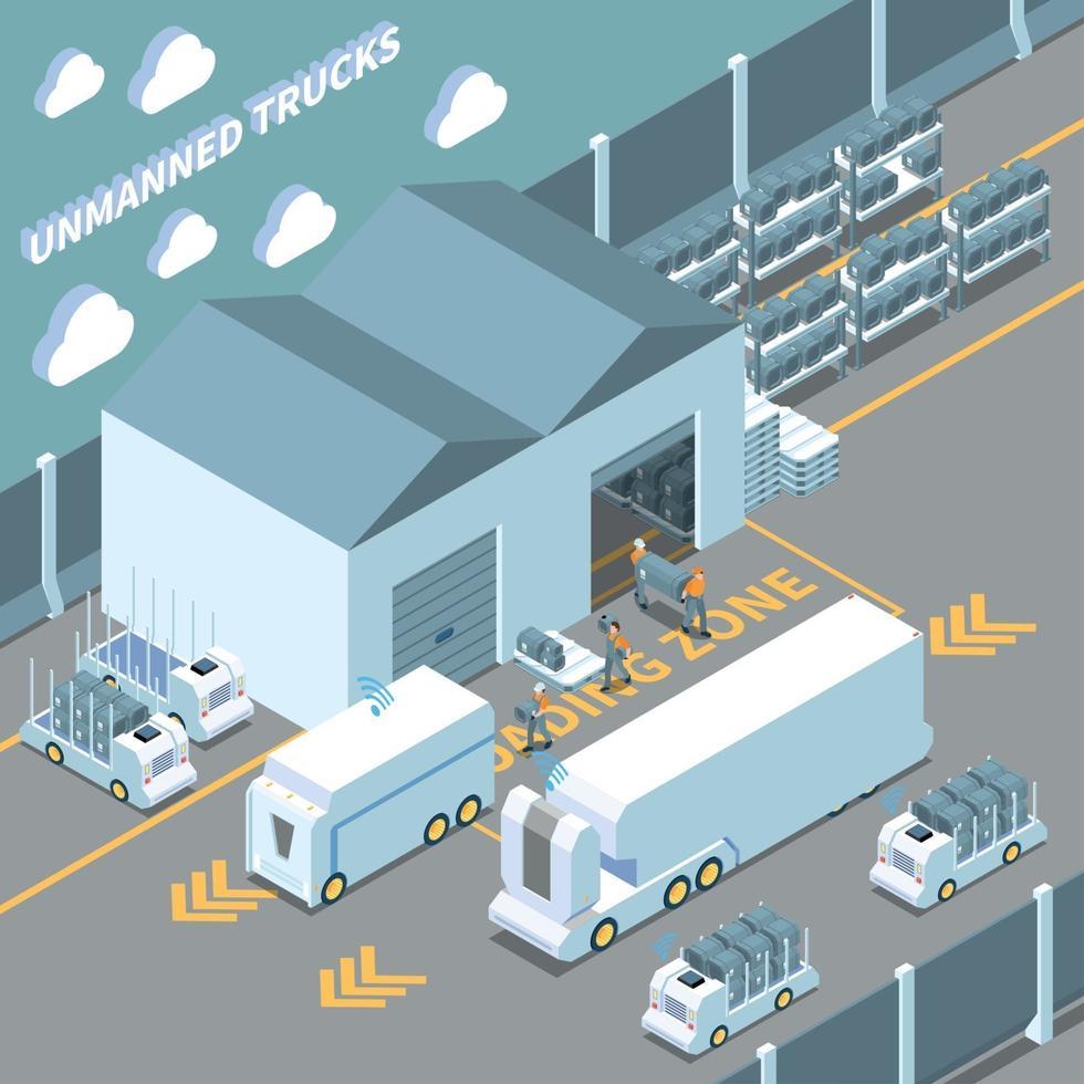 Autonomous Cars Isometric Composition Vector Illustration