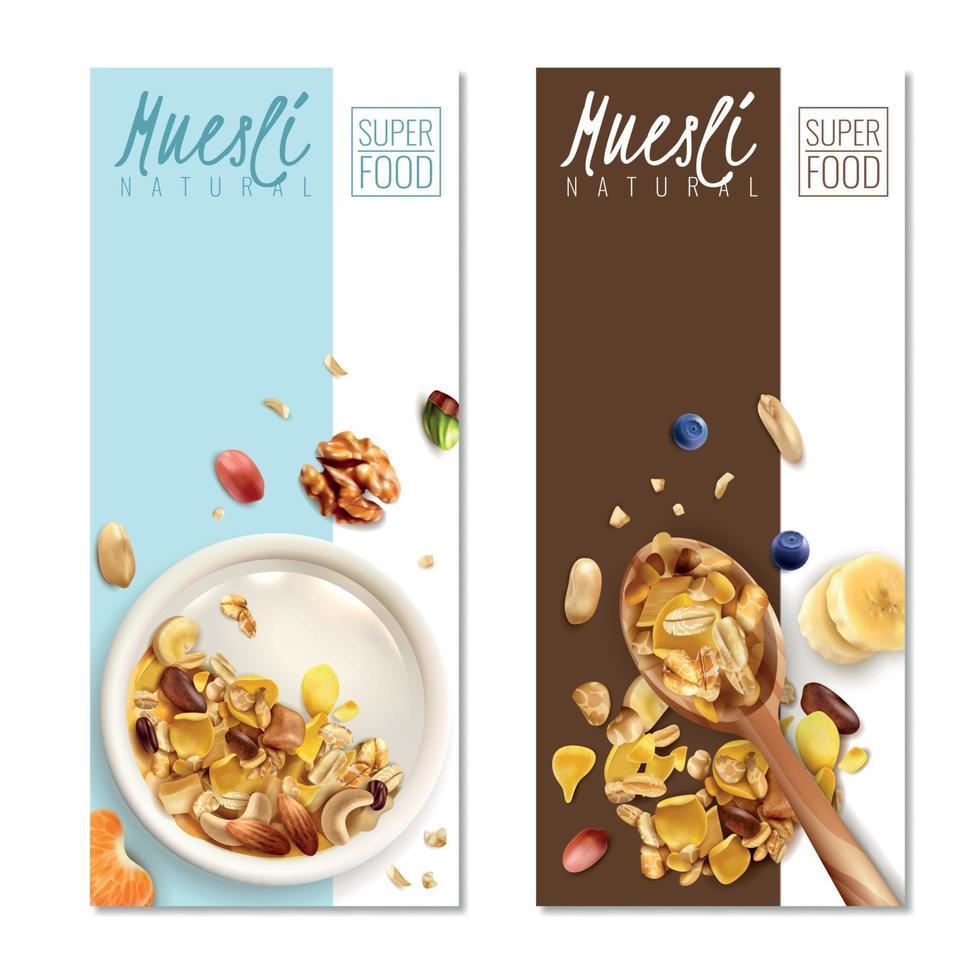 Muesli Banners Realistic Vector Illustration