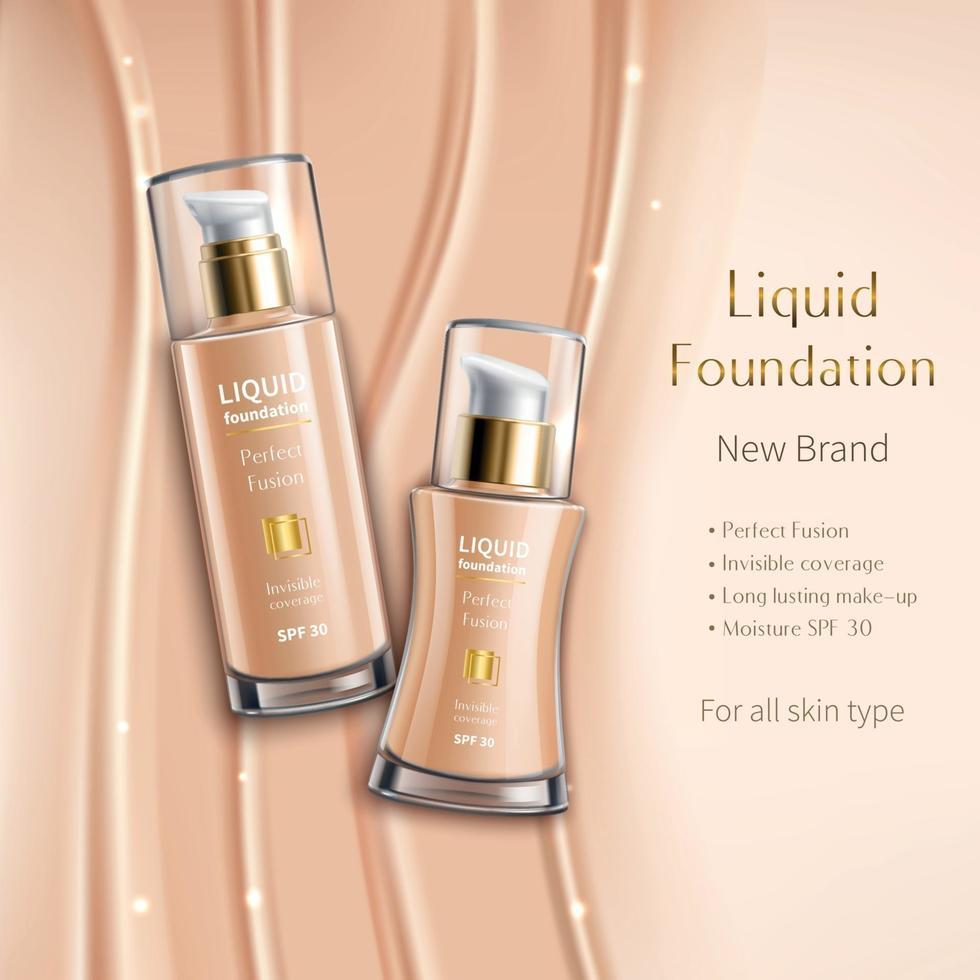 Realistic Liquid Foundation Cosmetics Advertising Vector Illustration