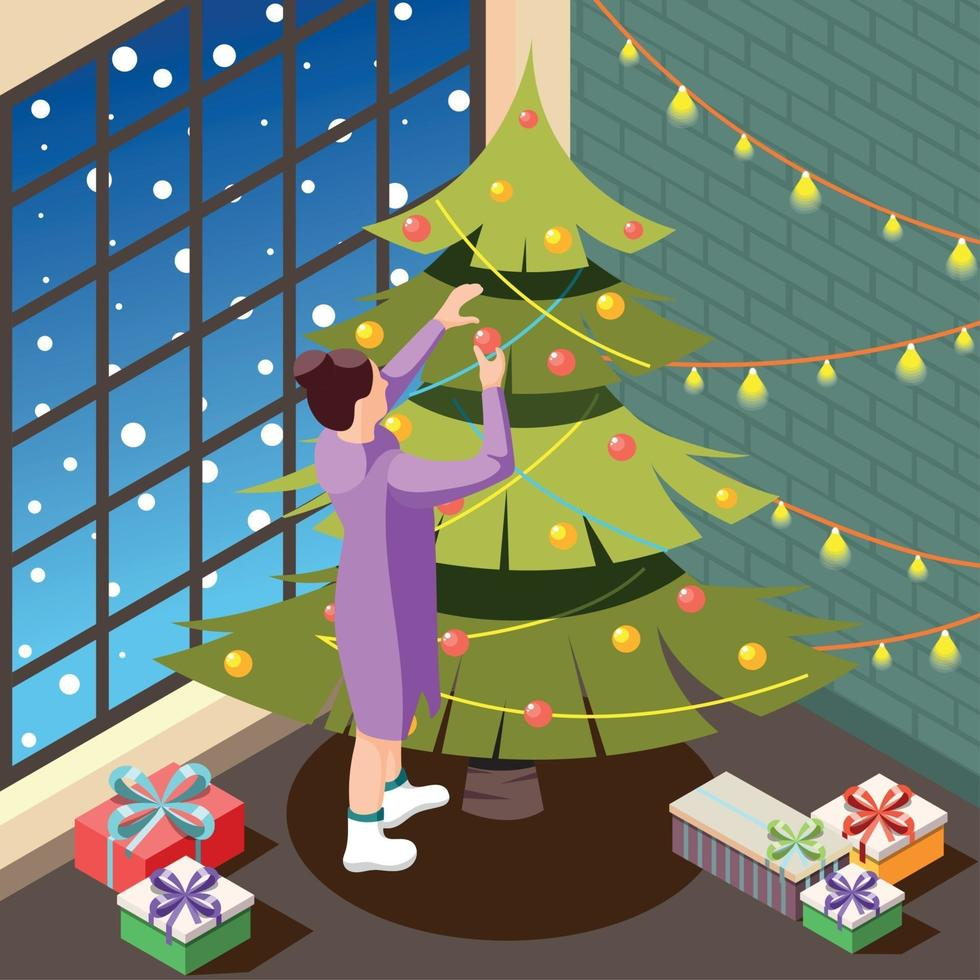 Christmas Eve Isometric Background Vector Illustration