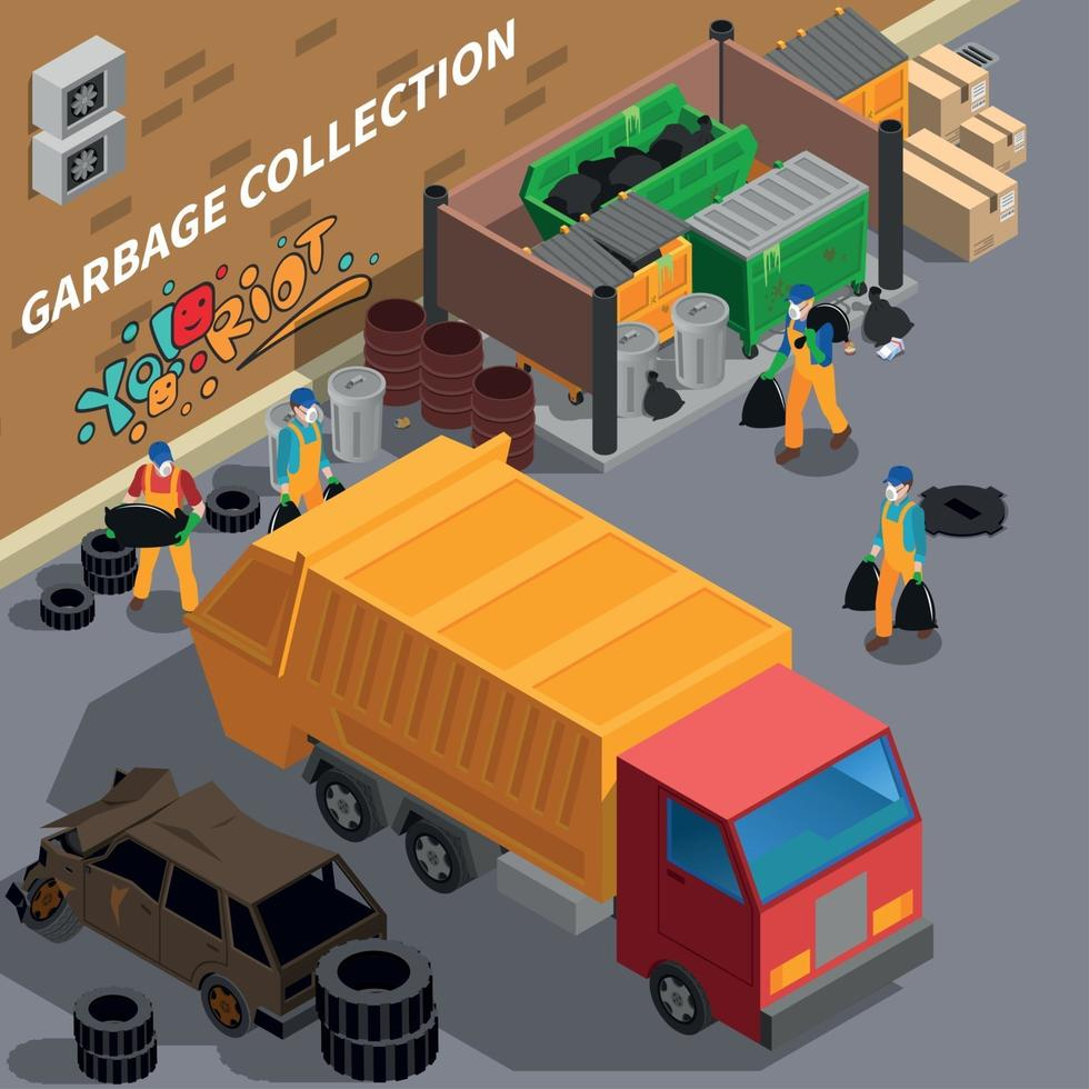 Garbage Collecting Truck Composition Vector Illustration