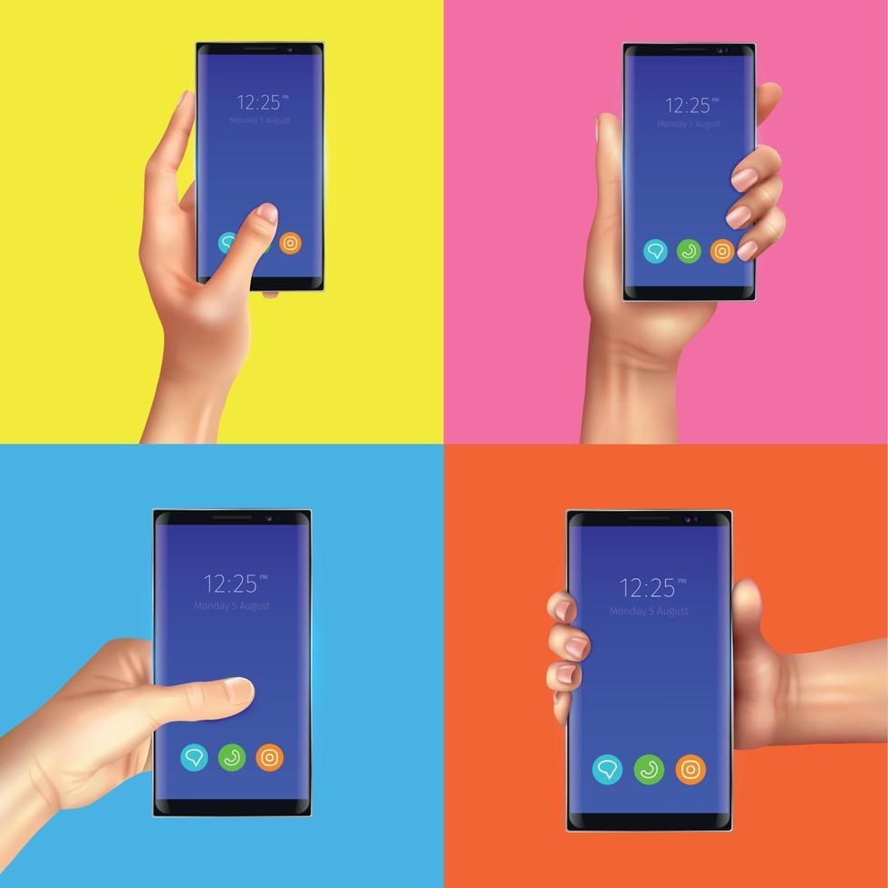 Realistic Gadgets Hands Design Concept Vector Illustration