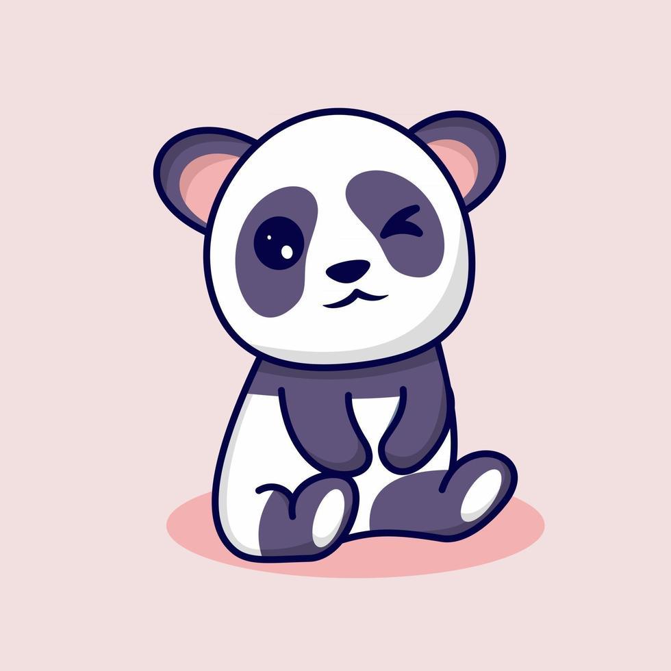 lindo panda con linda sonrisa vector