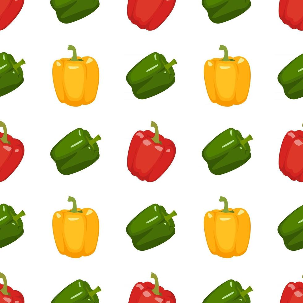 Seamless pattern with peppers. Bright vegetable print vector