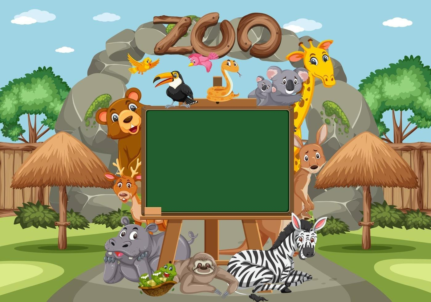 Empty blackboard with various wild animals in the zoo vector