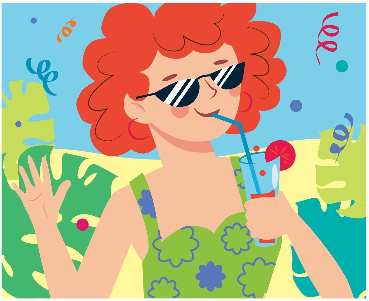 Girl on the coast with a cocktail celebrates a holiday. Beach party. vector