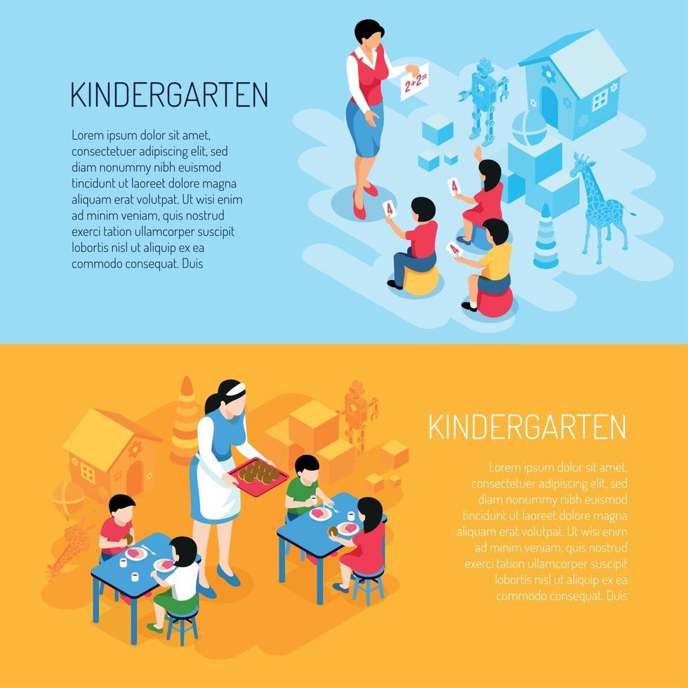 Kindergarten Isometric Banners Vector Illustration