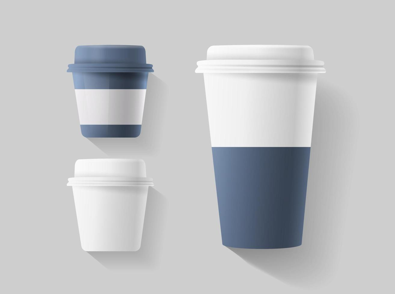 Set of realistic blank mock up paper cups. Coffee cup with short and long size. Vector illustration isolated