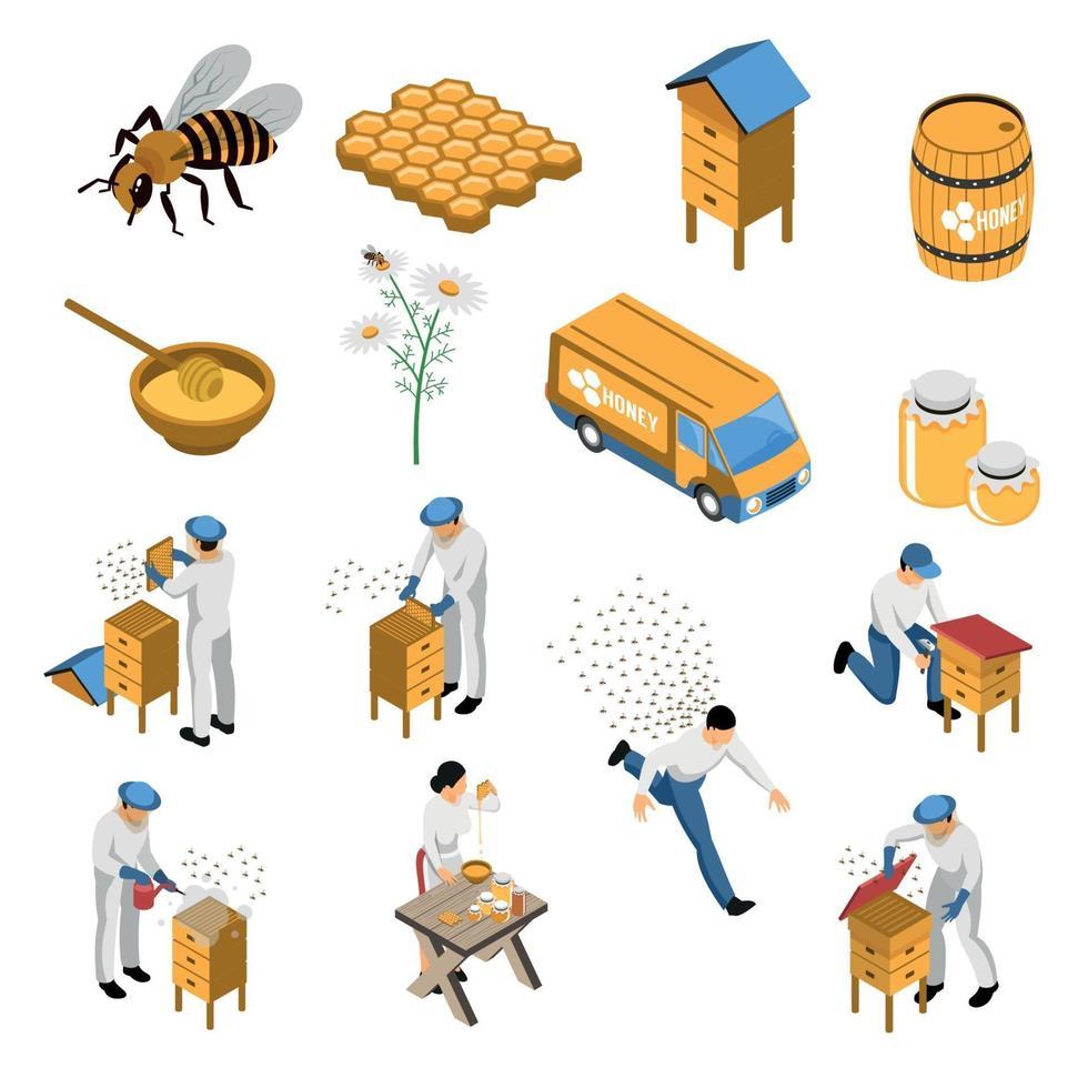 Beekeeper Honey Isometric Set Vector Illustration